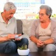 Stock Video: Elderly couple playing cards