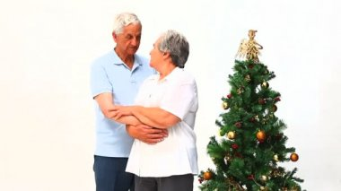 Elderly couple during Christmas day — Stock Video