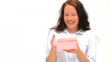 Woman opening her present — Stock Video