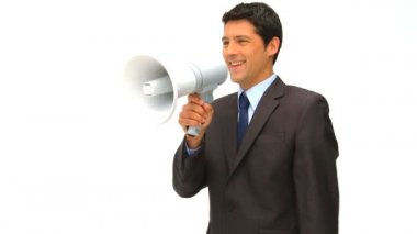 Businessman speaking through a megaphone — Stock Video