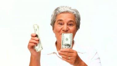 Donna matura mostrando il suo denaro — Video Stock