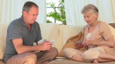 Elderly woman winning against her husband — Vidéo
