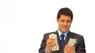 Affärsman som visar upp sina pengar — Stockvideo