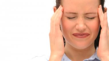 Woman having a headache — Stock Video