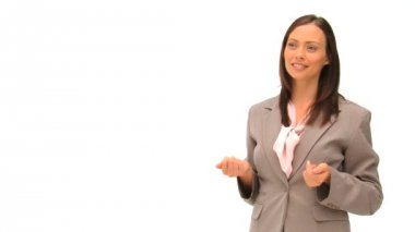 Businesswoman talking against a white background — Stock Video