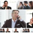 Royalty-Free Stock Vector Image: Montage of business communicating