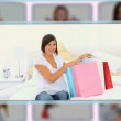 Montage of couples and families enjoying some shopping moments together — Vidéo