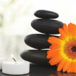 Royalty-Free Stock Векторное изображение: Black stones, candles and sunflower