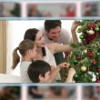 Royalty-Free Stock Vektorfiler: Montage of families on Christmas day