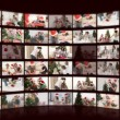 Royalty-Free Stock Imagem Vetorial: Montage of families celebrating christmas