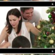 Montage of families celebrating some moments together at Christmas — Stock Video