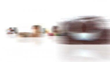 蒙太奇的高兴喝咖啡 — 图库视频影像