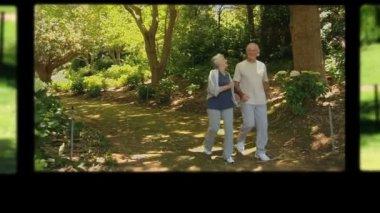 Montage of retired couple having fun — Stock Video