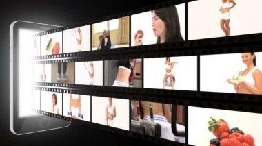 Montaż sprawny kobiety w różnych sytuacjach — Wideo stockowe