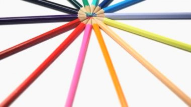Color pencils rotating — Stock Video