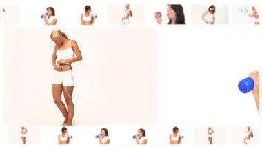 Montaż pięknych kobiet sprawny w różnych sytuacjach — Wideo stockowe