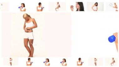さまざまな状況で美しい陽気な女性のモンタージュ — ストックビデオ