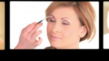 Montage of women making-up — Stock Video
