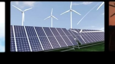 Montage illustrating the solar and wind energies — Stock Video #15613187