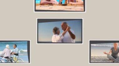 Montage van gepensioneerde paren ontspannen — Stockvideo