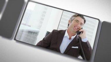 Montage van het bedrijfsleven op de telefoon — Stockvideo