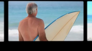 Montage of retired couples relaxing — Stock Video