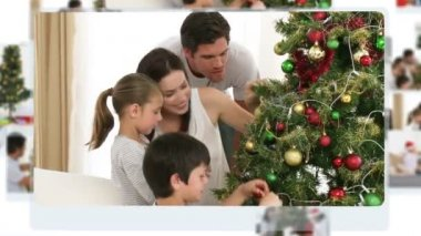 Montage of children decorating the christmas tree — Stock Video
