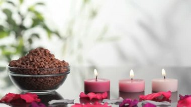 Spa salts near lighted candles — Stock Video