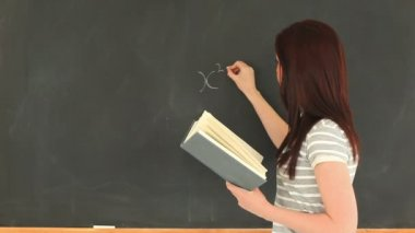 Charming woman writing a mathematical formula on a blackboard — Stock Video