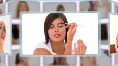 Montage of good looking women puting make-up on — Stock Video