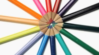 Color pencils joined at the top rotating — Stock Video