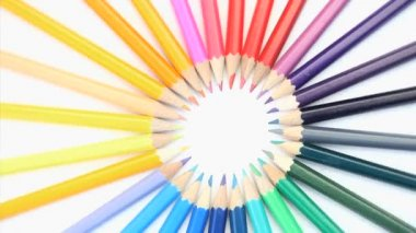 Top part of color pencils turning — Stock Video