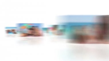 Montage of families on the beach — Stock Video