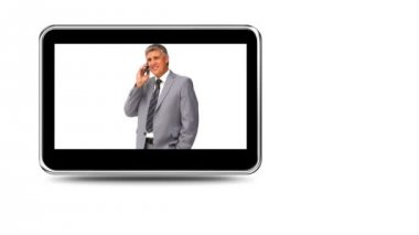 Montage of business talking on the phone — Stock Video