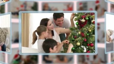 Montage of families on Christmas day — Stock Video