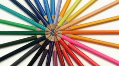 Color pencils joined at the top turning — Stock Video