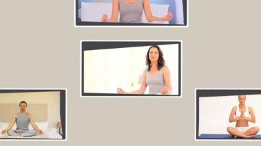 Yoga pratik ve montaj — Stok video