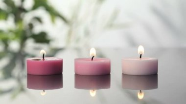 Pink lighted candles — Stock Video