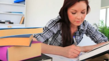 Glad student som studerar — Stockvideo