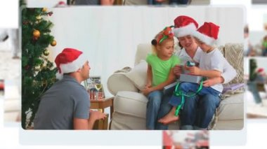 Montage of children opening their Christmas presents — Stock Video
