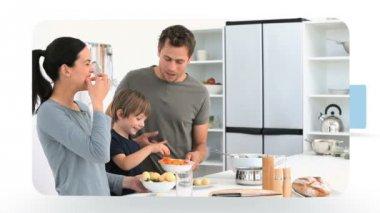 Montage van gezinnen in de keuken — Stockvideo