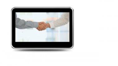 Montage van bedrijf handen schudden en samen praten — Stockvideo