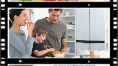 Bir mutfak mutlu montaj — Stok video