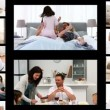 Montage of families at home — Vídeo de stock