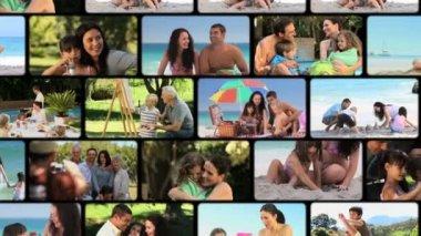 Montage van gezinnen in openlucht — Stockvideo