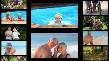 Montaggio delle coppie senior attive — Video Stock