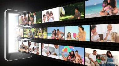 Montaggio di famiglie divertimento fuori — Video Stock
