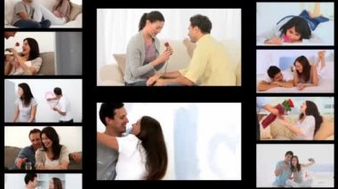 Montage of couples sharing romantic moments — Stock Video