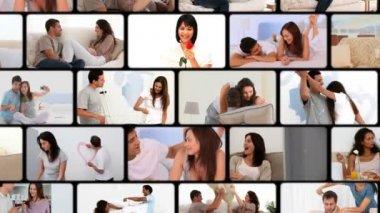 Montaggio di coppie abbracciarsi — Video Stock