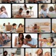 Montage of families enjoying moments at home — Wideo stockowe